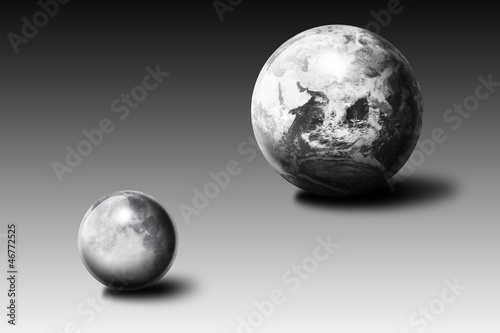 metallic Earth and Moon
