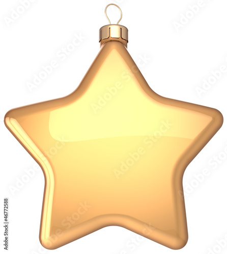 Star Christmas ball gold decoration Happy New Year bauble