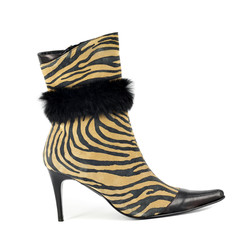 women boot with tiger stripes on white