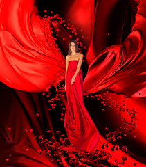 goddess of love in long red dress with magnificent long hair