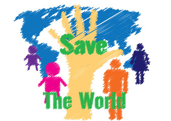 Illustration vector drawing save the world concept