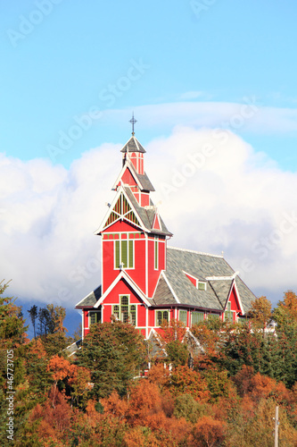 Busknes church and auum's leaves