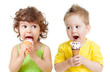 children or kids, little girl and boy eating ice cream isolated
