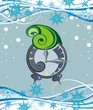 Christmas alarm on snowflakes background