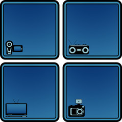 icons with voice recorder, tv, photo and video camera