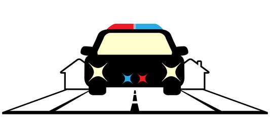 sign with police car and cottage - security symbol