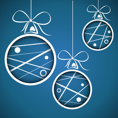 blue dotted scribbled christmas balls