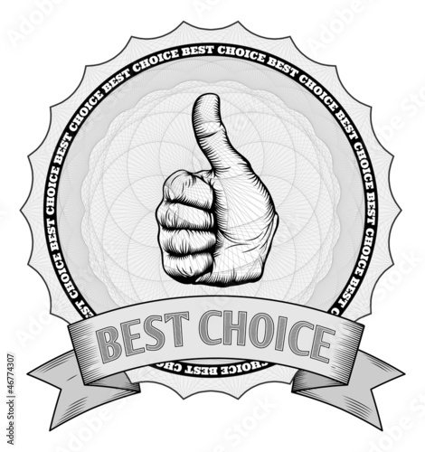 Thumbs up best choice award badge