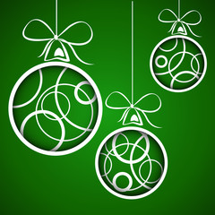 dark green white circle christmas balls