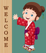 illustration of Cute little japanese girl with Welcome sign