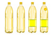 Four yellow plastic bottles with labels