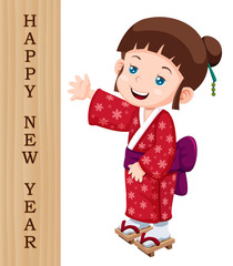 illustration of Cute japanese girl with Happy New Year sign