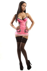 sexy woman with pink waitress uniform