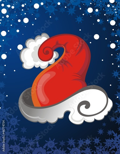 Christmas snowflakes card with Santa Claus hat