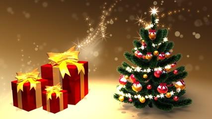 Weihnachtsbaum mit Weihnachtsgeschenken
