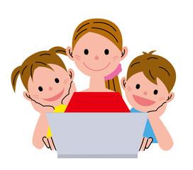 女性 子供 パソコン