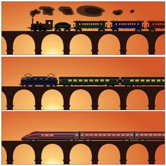train at sunset on the bridge