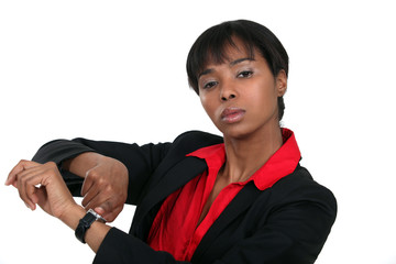 A female boss reminding the time.