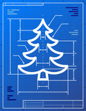 Blueprint drawing of christmas tree. Vector illustration