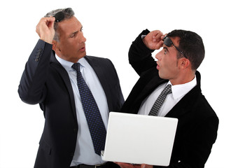 Businessmen recognizing one another