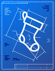 Blueprint drawing of christmas stocking. Vector illustration