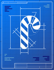 Blueprint drawing of christmas candy cane. Vector illustration