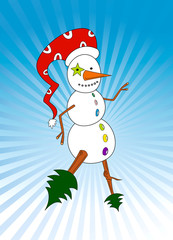 Funny snowman with red hat ready for christmas party