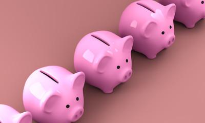 Pink Piggy Bank 3D Render