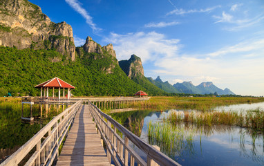 Wooden Bridge in lotus lake at khao sam roi yod national park, t