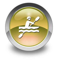 "Yellow Glossy Pictogram ""Kayaking"""