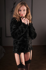 woman in black fur