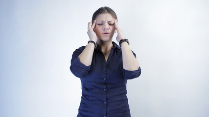Businesswoman has headache, isolated