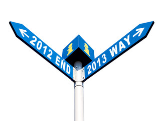 2012 end and 2013 way signs