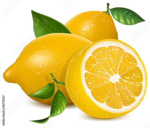 Fresh lemons with leaves
