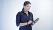 young businesswoman typing sms, isolated