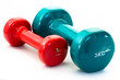 Blue and red fitness dumbbells isolated on white background