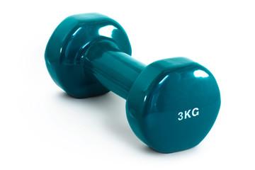 Blue 3kg fitness dumbbell isolated on white background