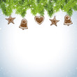Christmas snowy background with gingerbread decorations