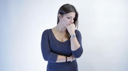 Beautiful depressed woman isolated