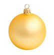 Gold yellow christmas ball on a white