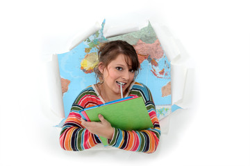 Woman bursting out of geography class