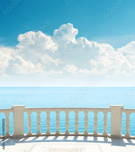 balcony near sea and clouds over it - 46780503