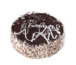 Truffle chocolate cake isolated over white