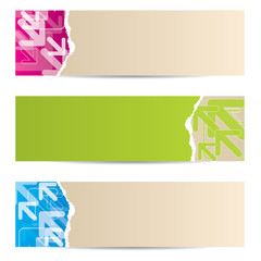 Ripped paper banner design with arrows
