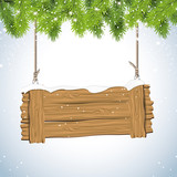 Christmas background with wooden sign