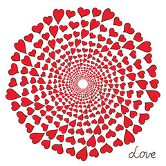 Abstract round composition with red hearts Vector illustration