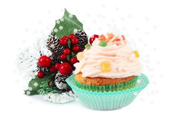 Vanilla cupcake for Christmas