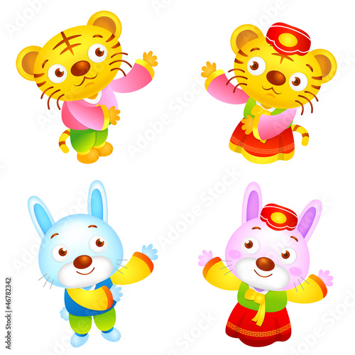 Korean clothes put on the front stand up Tiger and Rabbit Mascot