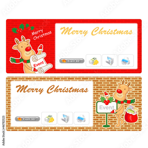 Rudolph a deer Mascot using a variety of banner designs. Christm