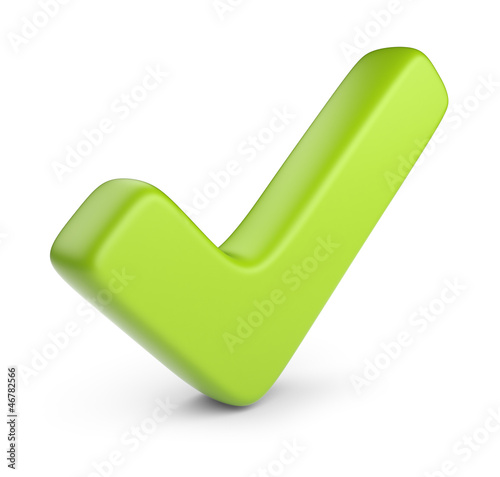 Green check mark. 3D Icon isolated on white background